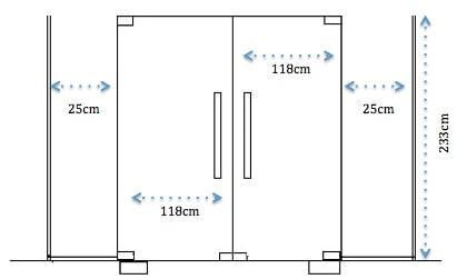 kích thước cửa kính cường lực