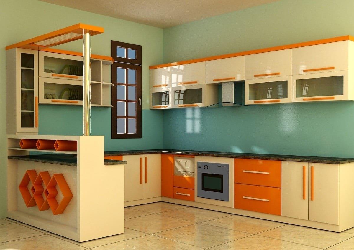 Tủ bếp kính cường lực sang trọng cho căn bếp hiện đại