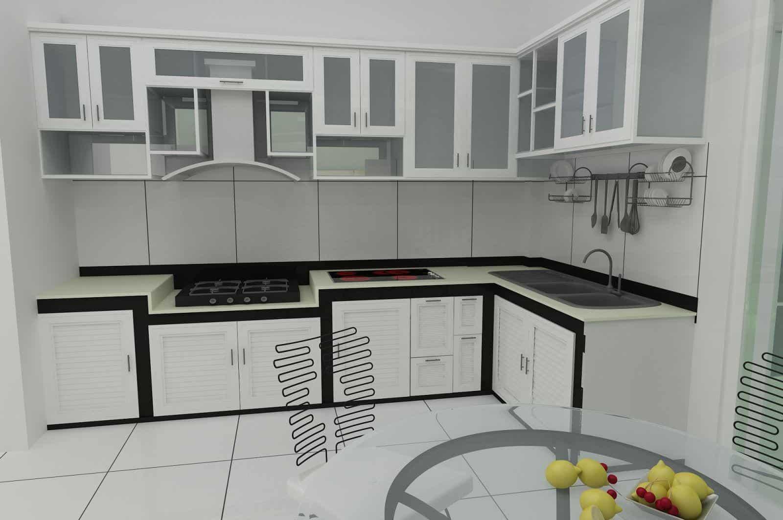 tủ bếp nhôm kính chữ L